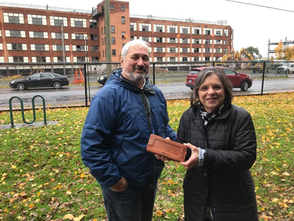 November 5, 2018 – Assemblywoman Lupardo and Rick Materese at the demolition of 1 North Page Ave. in Endicott. The former Endicott-Johnson factory was torn down after years of neglect.