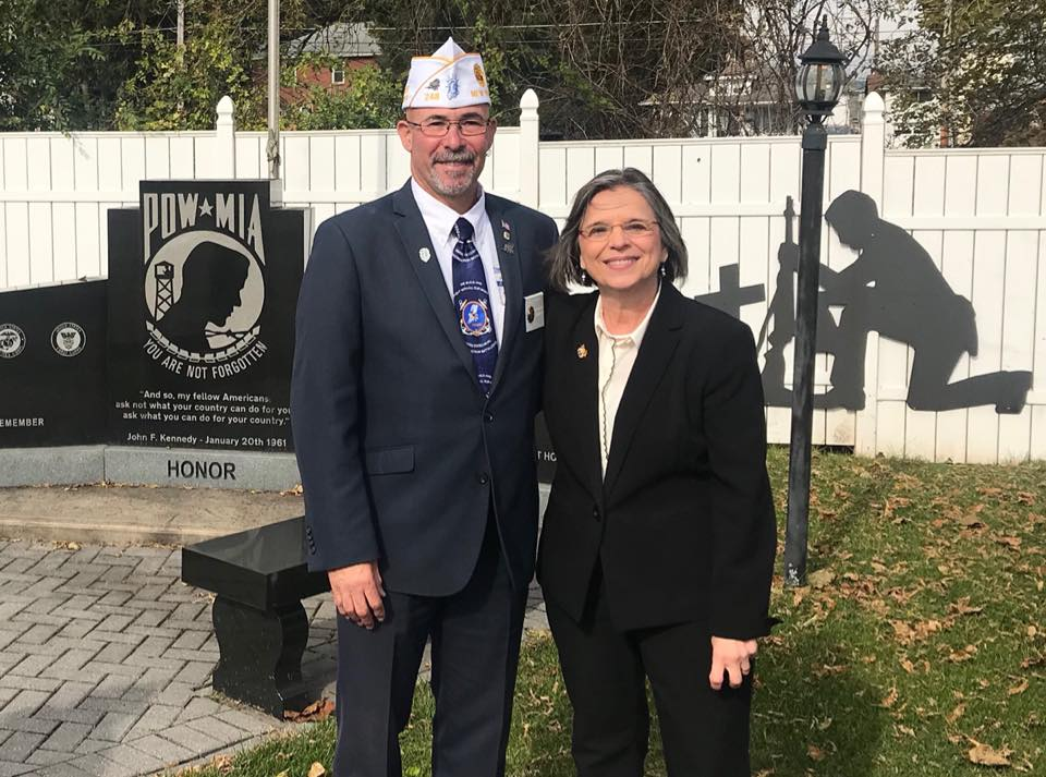 October 31, 2018 – Assemblywoman Lupardo welcomes NYS American Legion District Commander Gary Schacher to Post 1700 in West Endicott.