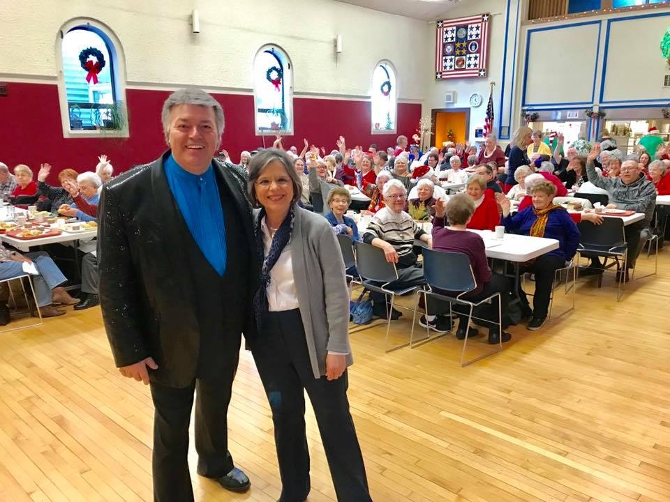 December 19, 2018 – Assemblywoman Lupardo, local entertainer Rich Wilson, and 150 of their friends at the annual Holiday Lunch at First Ward Senior Center.