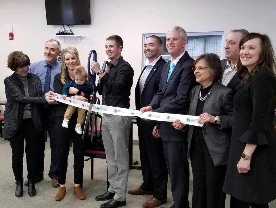 January 25, 2019 – Assemblywoman Donna Lupardo helps cut the ribbon at the grand opening of 434 Sportsplex in Vestal.