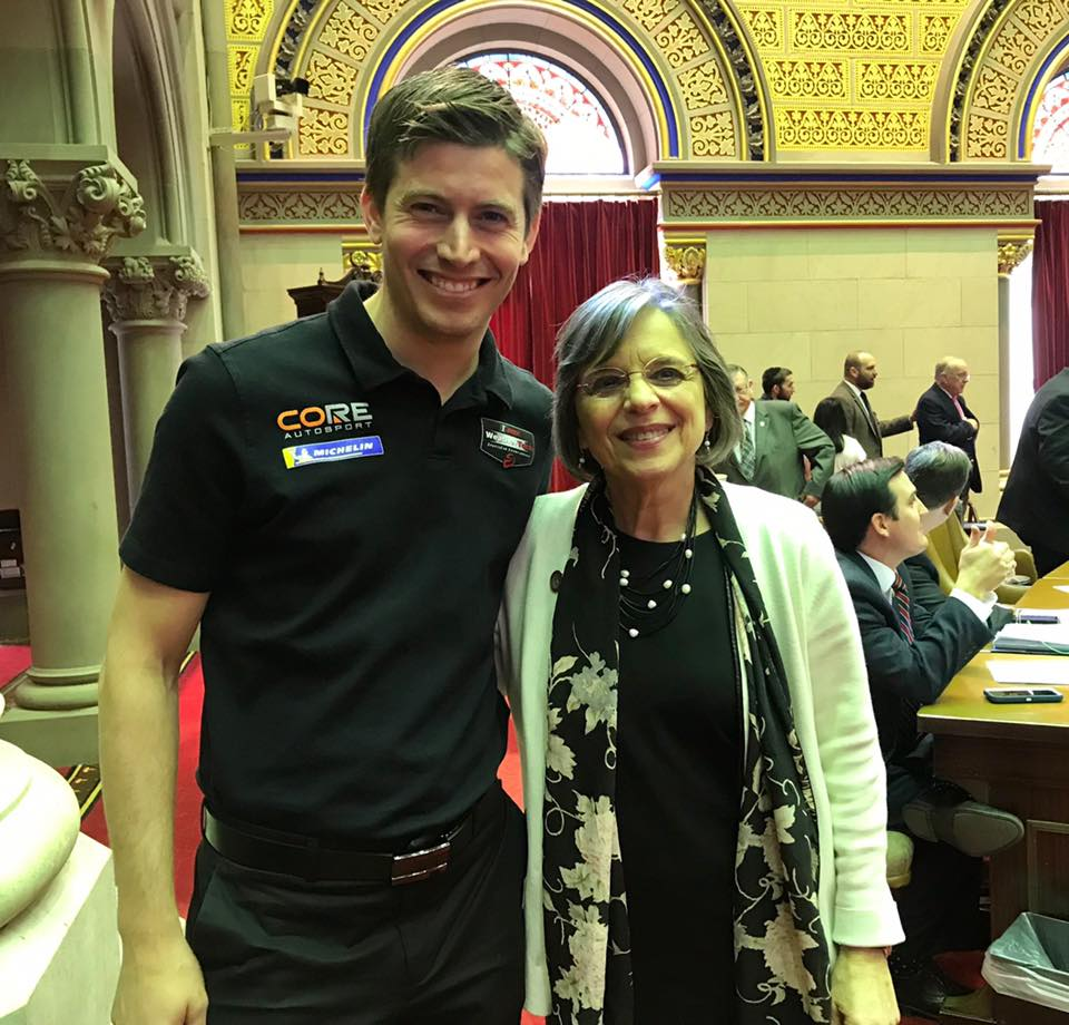 March 26, 2019 – Assemblywoman Lupardo meets with IMSA driver Colin Braun who was visiting the Capitol to promote racing season at Watkins Glen.