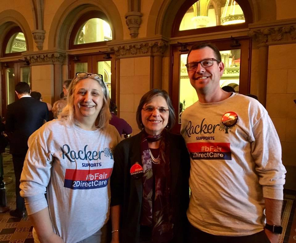 March 25, 2019 – Assemblywoman Lupardo lends her support to the #bFair2DirectCare campaign, meeting with representatives from Racker.