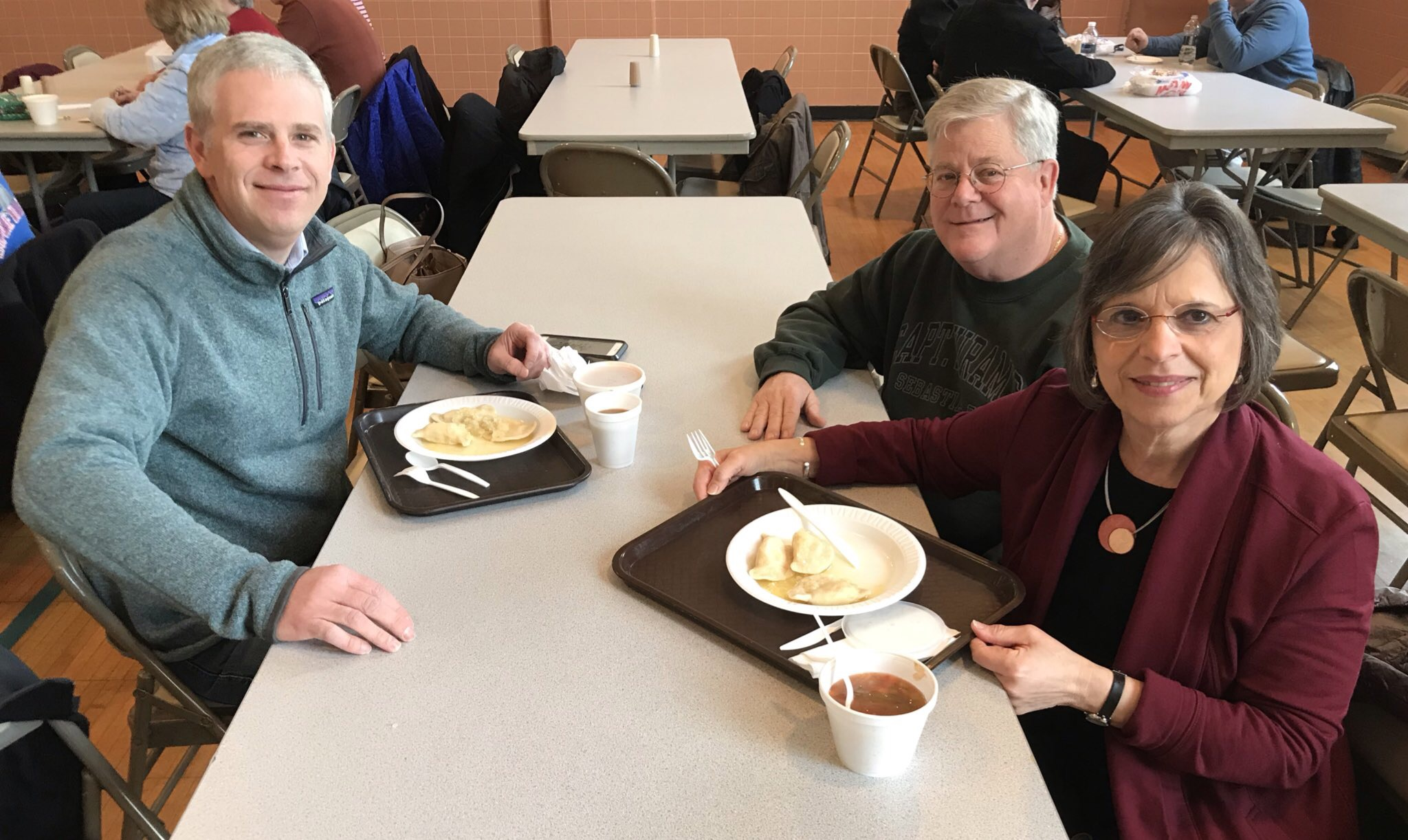 March 22, 2019 – A Lenten tradition: Assemblywoman Lupardo joins County Executive Jason Garnar and former County Executive Pat Brennan for St. Michael's annual pirohi lunch.