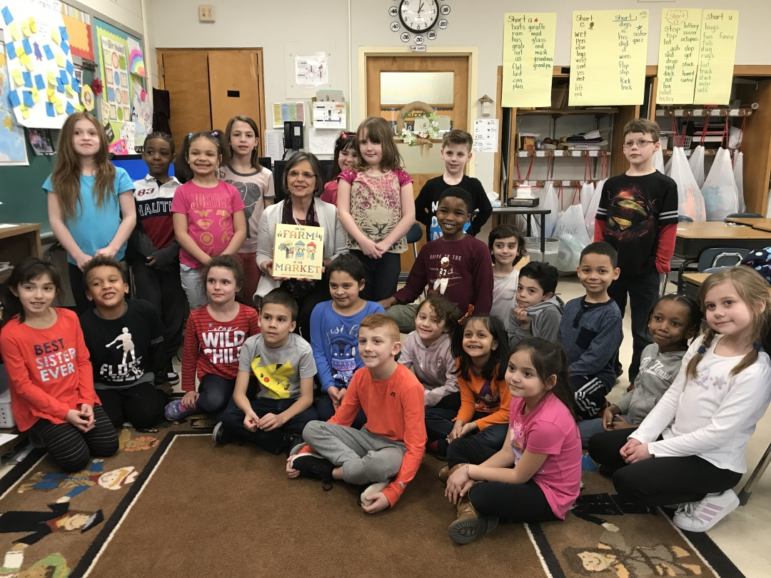 "March 21, 2019 – Assemblywoman Lupardo visits CFJ Elementary in Endicott to read ""On the Farm, at the Market"" as part of Ag Literacy Week."