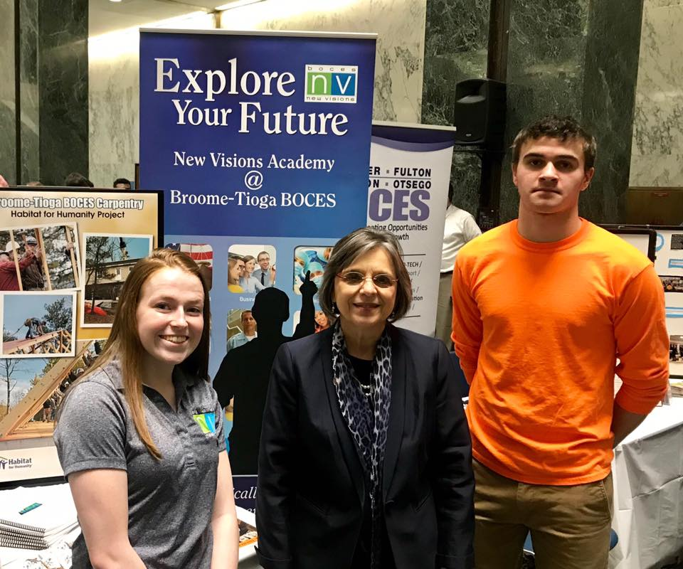 March 14, 2019 – Students from Broome-Tioga BOCES' New Visions program meet with Assemblywoman Lupardo.