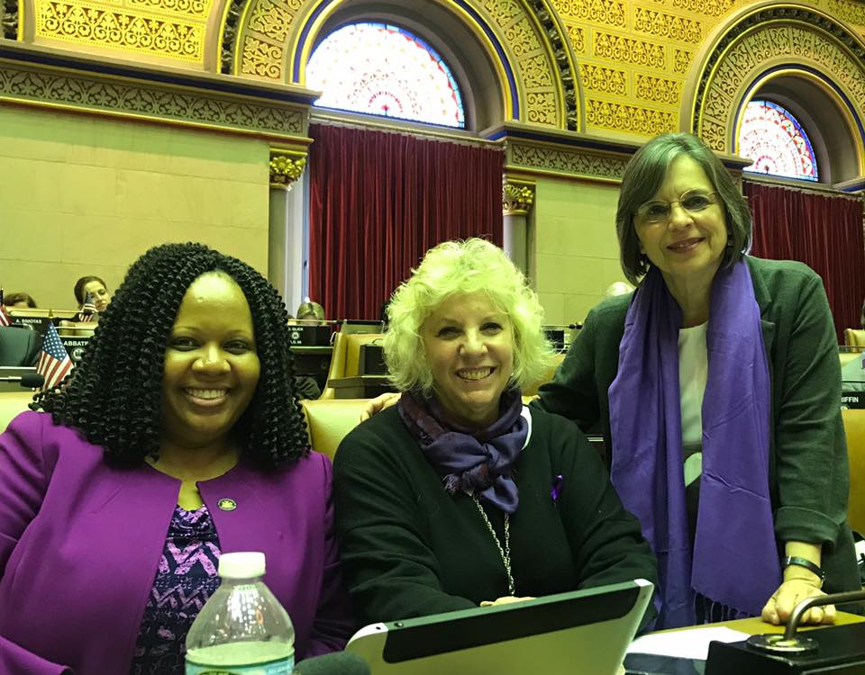 May 14, 2019 – Assemblywoman Lupardo and her colleagues Assemblywoman Mathylde Frontus & Assemblywoman Didi Barrett wear purple to raise awareness for domestic violence in NYS.