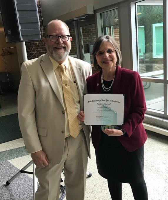 May 11, 2019 – Binghamton University's Department of Public Administration presents Assemblywoman Lupardo with its Sigma Award for Lifetime of Public Service to the Greater Binghamton Area.