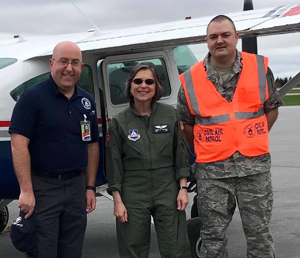May 4, 2019 – Assemblywoman Lupardo, a major in the NYS Civil Air Patrol's Legislative Squadron, joins the Broome-Tioga Composite Squadron of the Civil Air Patrol for a flight over Broome Co