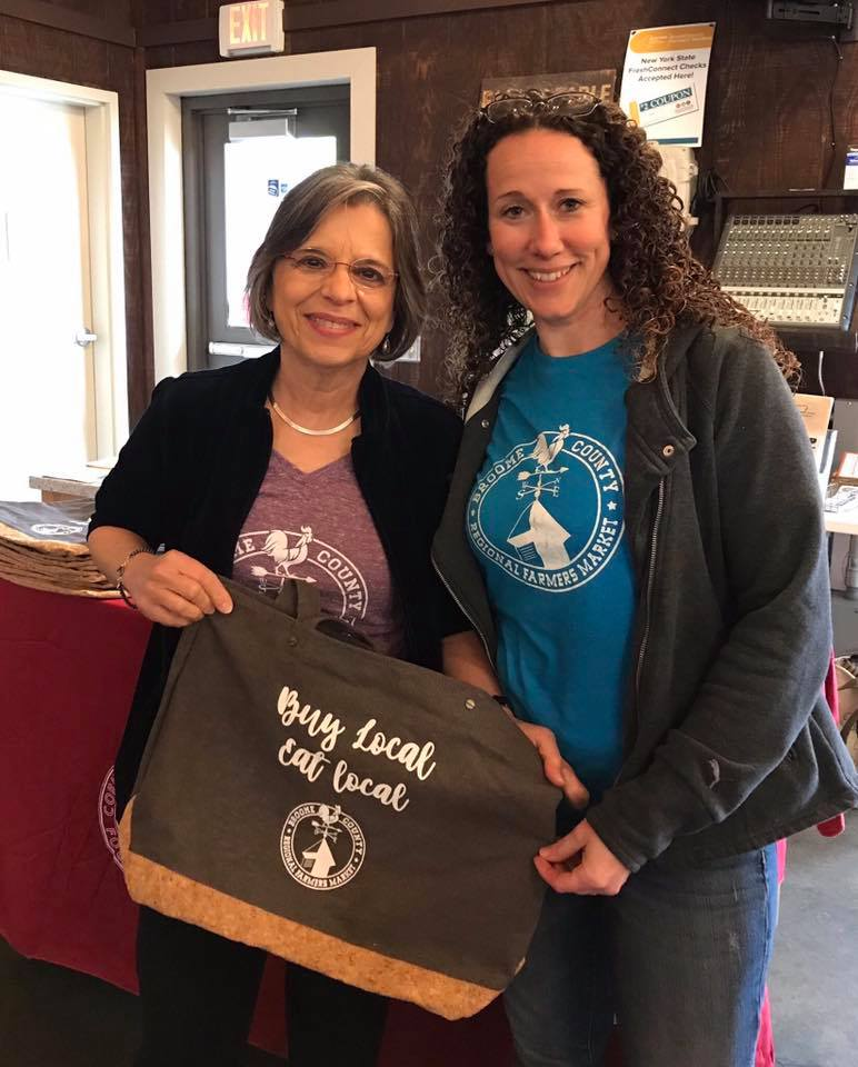 May 4, 2019 – Assemblywoman Lupardo and Broome County Regional Famers Market Manager Amy Willis during the 2019 Tri-County Farm Trail.
