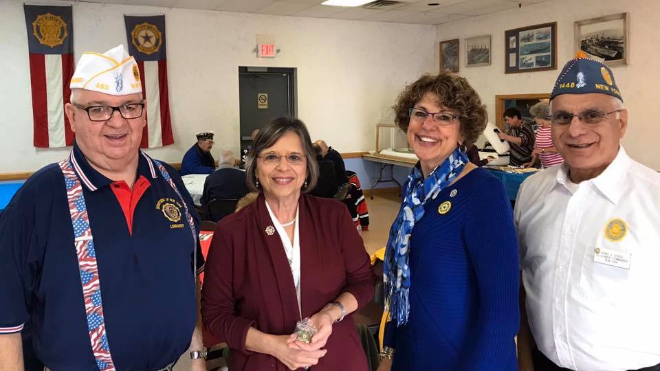 October 26, 2019 – Assemblywoman Lupardo welcomes NYS American Legion Commander Michael McDermott, Detachment Commander Dennis George, and Auxiliary Dept. President Linda Tome to Post 1700.