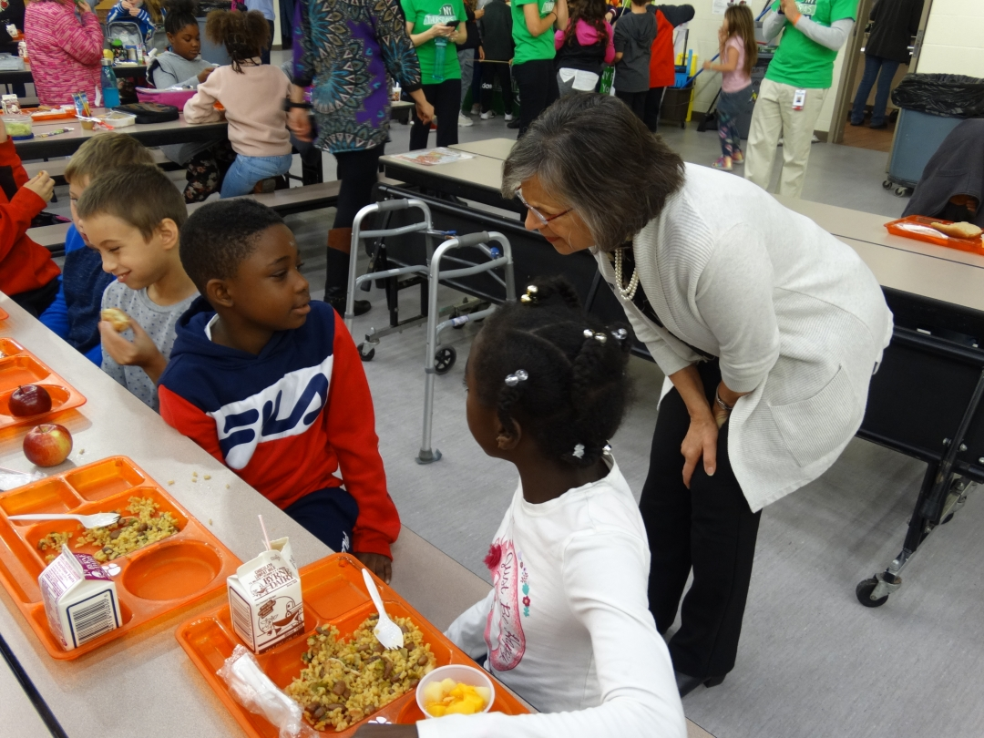 October 17, 2019 – Assemblywoman Lupardo talks with students at George F. Johnson Elementary School in Endicott during NY Thursday, a day once a month when school lunches are sourced with NYS pro