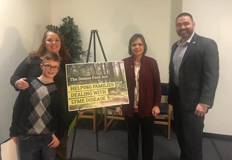 December 10, 2019 – Assemblywoman Lupardo and Senator Akshar with Demos Ford and his mother, DLouisa. The two legislators announced the Demos Ford Act to help people with tick-borne illnesses, na