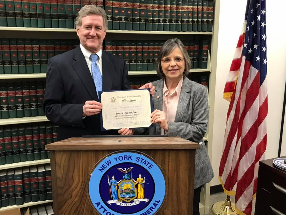January 7, 2020 – Assemblywoman Lupardo recognizes Assistant Attorney General In-Charge, Jim Shoemaker, on his retirement after 40 years of public service.