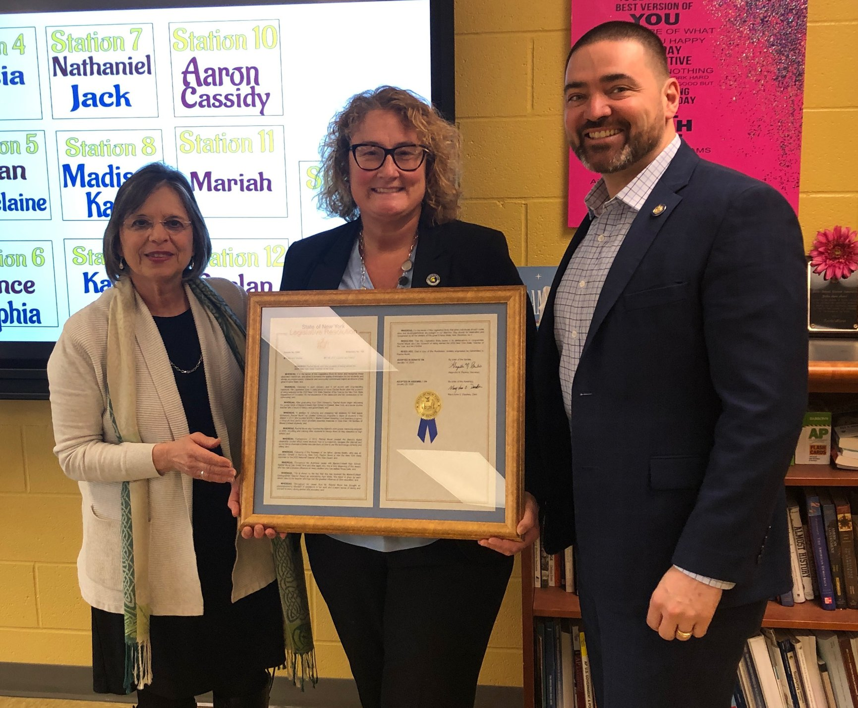 March 6, 2020 – Assemblywoman Lupardo and Senator Akshar present Maine-Endwell's Rachel Murat with a proclamation in honor of her being named NYS Teacher of the Year.