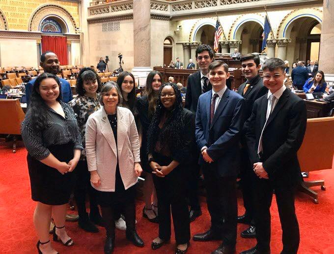 February 11, 2020 – Assemblywoman Lupardo meets with Union-Endicott's Mock Senate team in the Assembly Chamber in Albany.