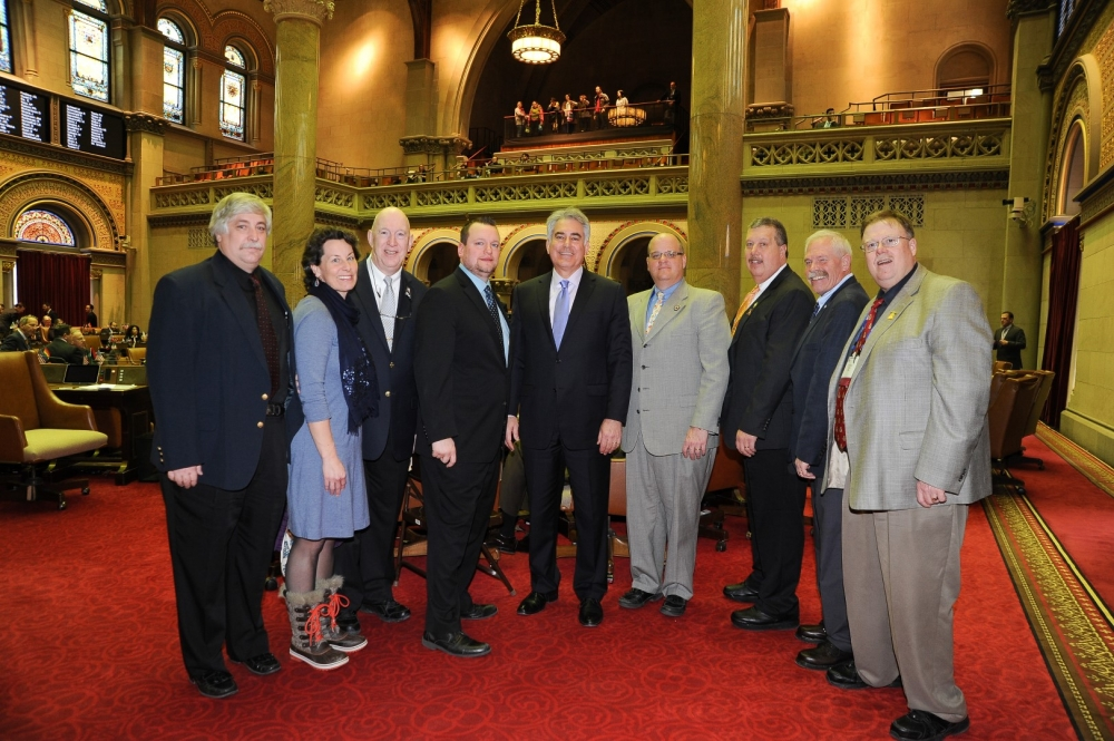 Assemblyman Al Stirpe welcomed Mayors and Trustees from Central New York to the floor of the Assembly on February 9, at the NY Conference of Mayors Lobby Day.  (L to R) Manlius Trustee Scott McGrew, T
