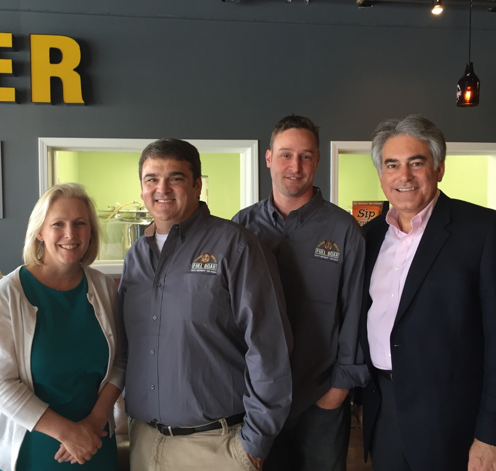 Assemblyman Stirpe and United States Senator Kirsten Gillibrand visit Full Boar Craft Brewery, in North Syracuse, New York. Al works with his colleagues in the US Senate to make Central New York a pla