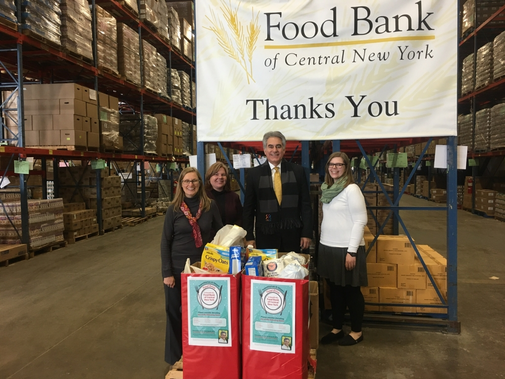 Assemblyman Al Stirpe's holiday food drive collected 378 pounds of food for the Food Bank of Central New York. (January 2017)