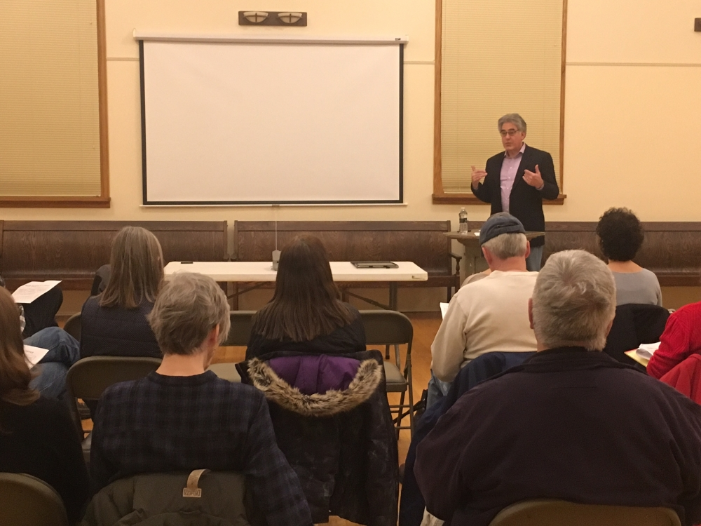Assemblyman Al Stirpe held four town hall hearings across the district to give citizens a chance to learn about and discuss this year's state budget. The events were held in Fabius, Liverpool, Fa