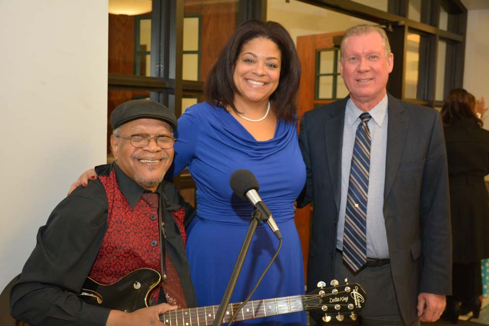 Jazz Musician Marcus Curry, and Larry Luttinger, Executive Director CNY Jazz Central join Assemblymember Pamela J. Hunter during her swearing-in at Le Moyne College.
