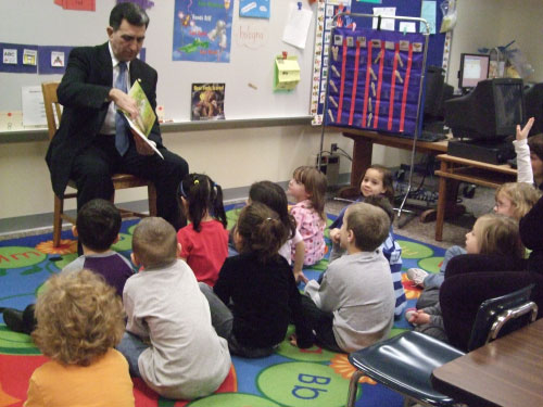 "Solvay Elementary kindergarten students listened to Assemblyman Magnarelli read ""The Itsy-Bitsy Spider."""