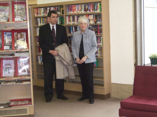 Olivia Opello, Hazard Branch Library Manager, and Assemblyman William Magnarelli look at some of the reupholstered furniture funded by a grant Magnarelli secured to help make the library even more welcoming to the many patrons who visit each day.