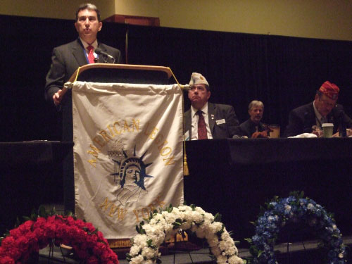 Assemblyman Magnarelli, who served as chair of the Veterans' Affairs Committee, spoke to the veterans and members of the auxiliaries from across the state and thanked them for their unselfish service to our country during the 92nd Annual convention of the American Legion Department of New York.