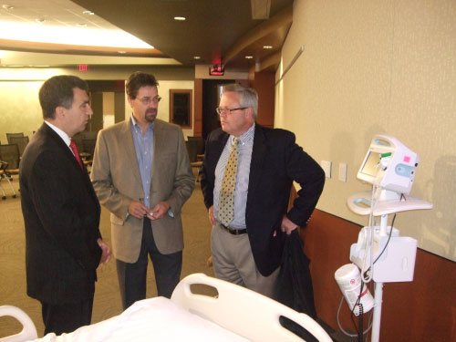 St. Joseph's Hospital and Health Center purchased new next-generation vital sign management devices from Welch Allyn with a state grant Assemblyman Magnarelli secured. The devices will increase accuracy and efficiency of patient vital signs records through an automated vital sign documentation system. Assemblyman Magnarelli spoke with Dave Perkins, Senior Category Manager of Vital Signs at Welch Allyn, and Matt Chadderdon, Vice President of Marketing Communications of Global Brand Management & Shareholder Relations at Welch Allyn.