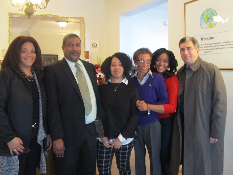 Assembly members Bill Magnarelli and Pam Hunter meet with staff of Jubliee Homes: Executive Director Walter Dixie, Director Desaree Dixie, and staff Twiggy Billue and Kristina Kirby. Jubilee Homes