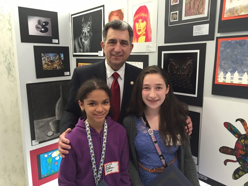 Assemblyman Magnarelli greeted the local recipients of the 26th Annual State-Wide New York Art Teachers Association Legislative Student Art Exhibit: A Celebration of Young Artists in Albany this past month. The celebration is to raise awareness of the importance of art in the community. Recipients were Salem Hyde Elementary students Kabrey Bonferraro and Olivia DeSantis-Collier, both are 6th graders. Their teacher is Mr. Joseph Foster.<br />