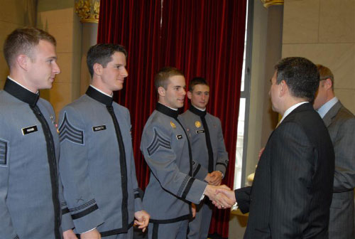 Assemblyman Magnarelli greets the West Point Cadets during their visit at the Capitol. Among the Cadets who visited was Daniel Walker of Baldwinsville. Every year, West Point graduates originally from New York State visit the legislators, who thank them for their service and honor their accomplishment of graduating from the esteemed military college.
