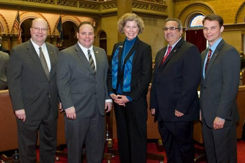 Assemblyman Palmesano joined fellow Southern Tier Assemblymen Bill Nojay, Joseph M. Giglio and Christopher S. Friend in welcoming Corning Community College President Dr. Katherine P. Douglas to the NYS Assembly.