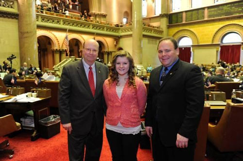 Assemblymen Phil Palmesano (R,C,I-Corning) and Bill Nojay (R,I-Pittsford) recently welcomed Evelyn Piatt of Arkport Central School to the Assembly for a firsthand look at the inner workings of the New York State Assembly.