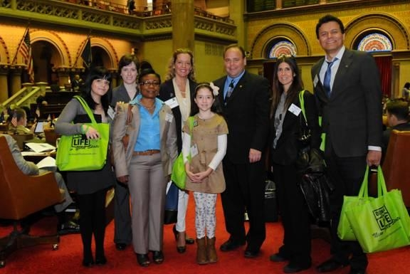 Pictured, from left to right, are Jennifer Lentini, Erin McGrath, Marilyn Foster, Jeanne Shields, Lauren Shields, Assemblyman Palmesano, Pamela Lubell and Stefan Segadlo.