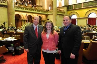 Assemblymen Phil Palmesano (R,C,I-Corning) and Bill Nojay (R,I-Pittsford) recently welcomed Evelyn Piatt of Arkport Central School to the Assembly for a first-hand look at the inner workings of NYS Assembly.