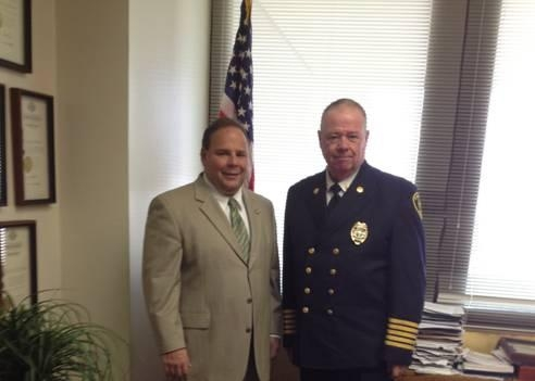 Assemblyman Phil Palmesano (R,C,I-Corning) recently welcomed the City of Corning Fire Chief, John Tighe, to the New York State Assembly.  In June, Tighe was installed as the President of the New York State Association of Fire Chiefs.
