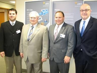 Assemblyman Phil Palmesano toured ITT Goulds Pumps along with (left to right) Jeff Shipley, Executive Director of Seneca County Chamber of Commerce; Ron Golumbeck, ITT Vice President and Human Resource Director; and David Stebbins, Vice President of ITT's American Sales & Service.