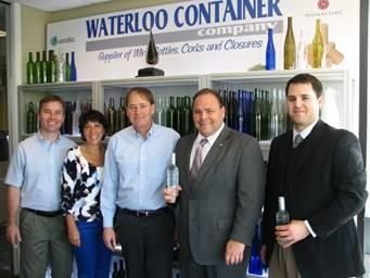 Waterloo Container in Seneca County hosted a visit from Assemblyman Phil Palmesano (second, right)  who met with (left to right) John Dixson, Chief Operating Officer; owners Annette Lutz (Human Resource Manager) and Bill Lutz (President).  Seneca County Chamber of Commerce Executive Director Jeff Shipley, far right, accompanied the assemblyman on a tour.
