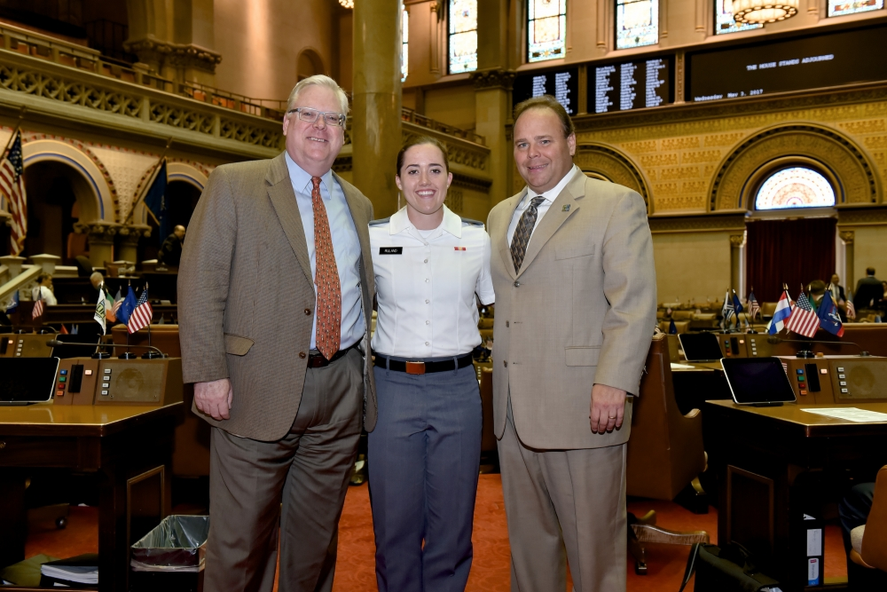 Photo from the floor of the New York State Assembly Chamber, Senator O'Mara and Assemblyman Palmesano welcome West Point Cadet Lili Ruland of Corning to the Capitol, and thank her for her commitment.<br />