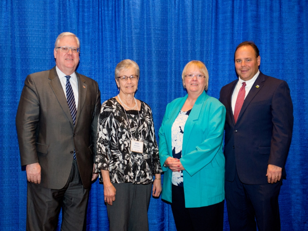 Left to right: Senator O'Mara, Janet Schroeder, Linda Conway and Assemblyman Palmesano. (Steuben County)