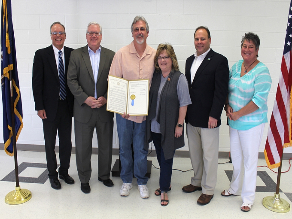 From left to right at GST BOCES on June 9: GST BOCES Executive Director for Career and Technical Education (CTE) Programs Chris Weinman, Senator O&#39;Mara, Dale Robie, Dale&#39;s wife Dori, Assemblyman Palmesano, and CTE Principal Colleen Hurd.<br />&nbsp;