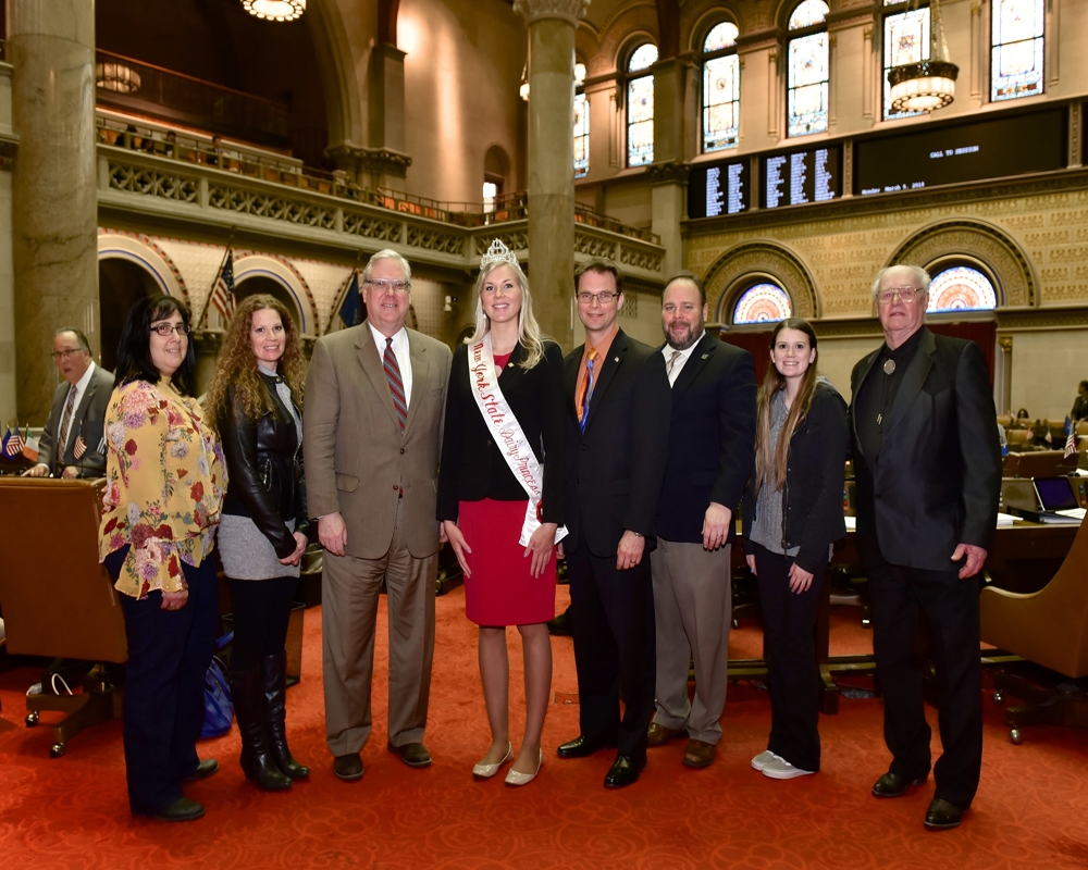 From left to right in the Assembly Chamber: Melissa Bower of the Chemung County Farm Bureau, Gina Blakemore, Senator O'Mara, Hailey Pipher, Assemblyman Friend, Assemblyman Palmesano, Sydney Blake