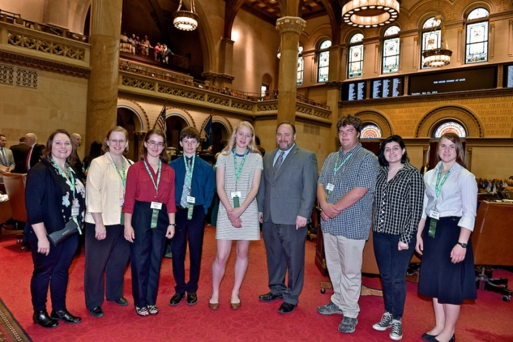 From Left to Right: Rachel Williams (Chaperone-Seneca County), Marla Kelly (Chaperone- Steuben County), Victoria Kelly (Delegate-Steuben County), Lucas Hooker (Delegate-Seneca County), Jamie Fisher (D