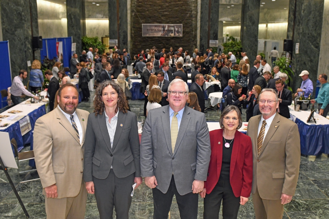 "From left to right at last night's ""Sip and Sample"" in The Well of the Legislative Office Building in Albany: State Agriculture Commissioner Richard Ball, Senator Jen Metzger, Senator O&"