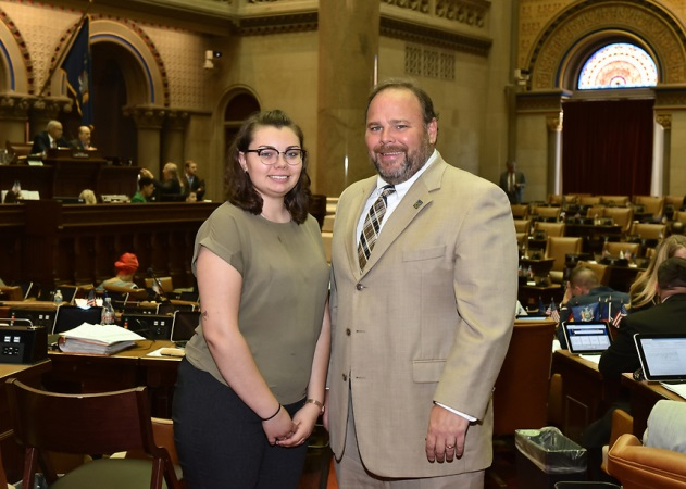 Madelyn Reid with Assemblyman Phil Palmesano (R,C,I-Corning) in the Capitol this week.