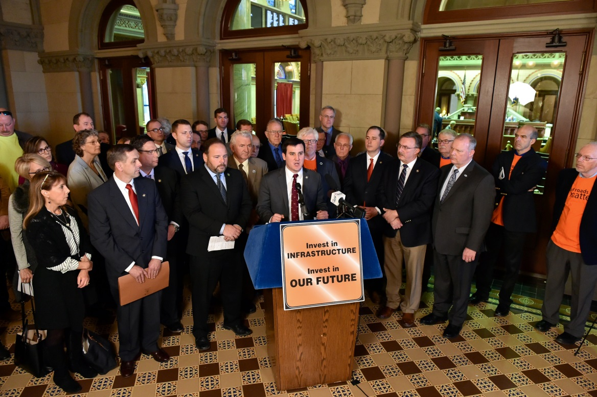 Assemblywoman Marjorie Byrnes (R,C-Caledonia) attends Transportation Press Conference in Albany on Monday, January 28, 2019