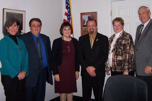 Assemblymember Harry Bronson meets with members of the Monroe County School Boards' Association. Left to right: Margaret Burns, Frank Nardone, Jody Siegle, Pam Reinhardt, Ken Graham