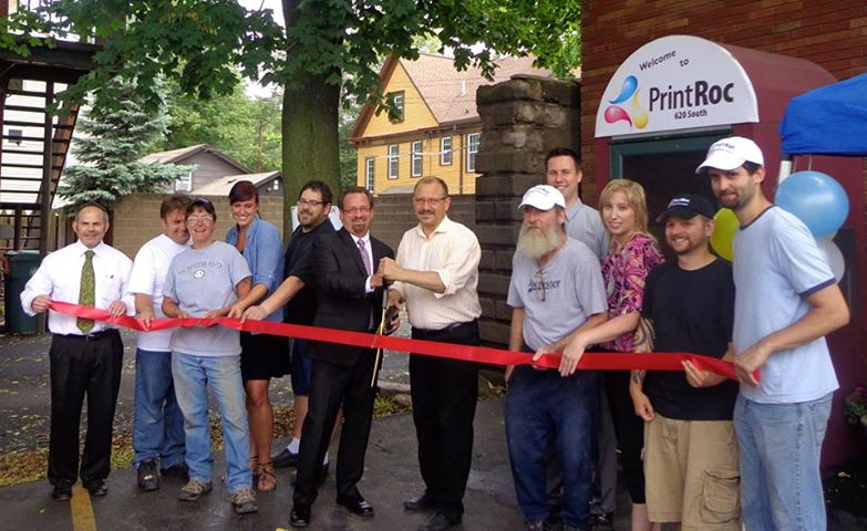 Assemblymember Bronson attends the ribbon-cutting ceremony for Printroc, a printing company located in Rochester