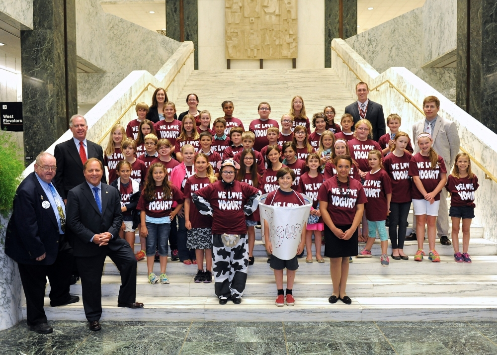 The 4th grade class of Byron Bergen Elementary School came to Albany to make yogurt the official state snack. Here, the class is pictured in the Capitol with Assemblyman Steve Hawley and Sen. Michael Ranzenhofer, who worked to pass the legislation.