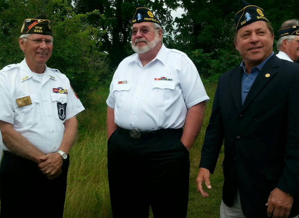 Assemblyman Steve Hawley pictured with fellow veterans at the site of the new Veterans Memorial Cemetery in Pembroke, New York.